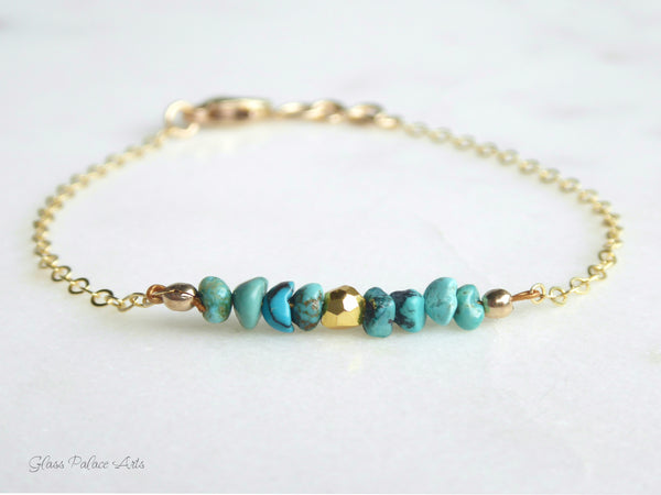 Dainty Genuine Turquoise Bracelets For Women - 14k Gold Fill or Sterling Silver