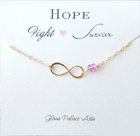 Breast Cancer Awareness Bracelet For Women - Pink Topaz Gemstone Hope Fight Survivor Jewelry Gift