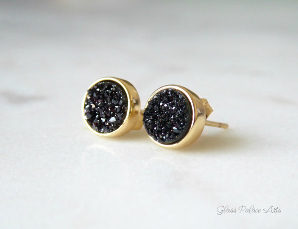 Real Black Druzy Stud Earrings For Women 8mm