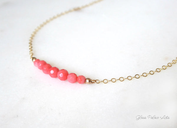 Small Beaded Pink Coral Necklace For Women