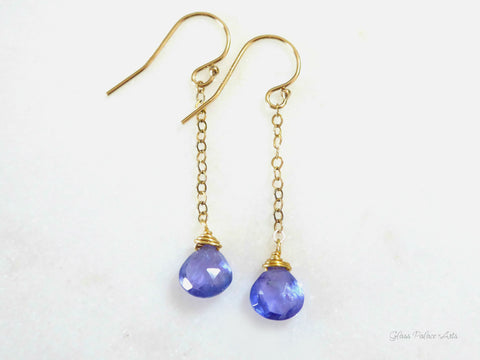 Genuine Tanzanite Dangle Earrings For Women, 14k Gold Fill, Sterling Silver, or Rose Gold