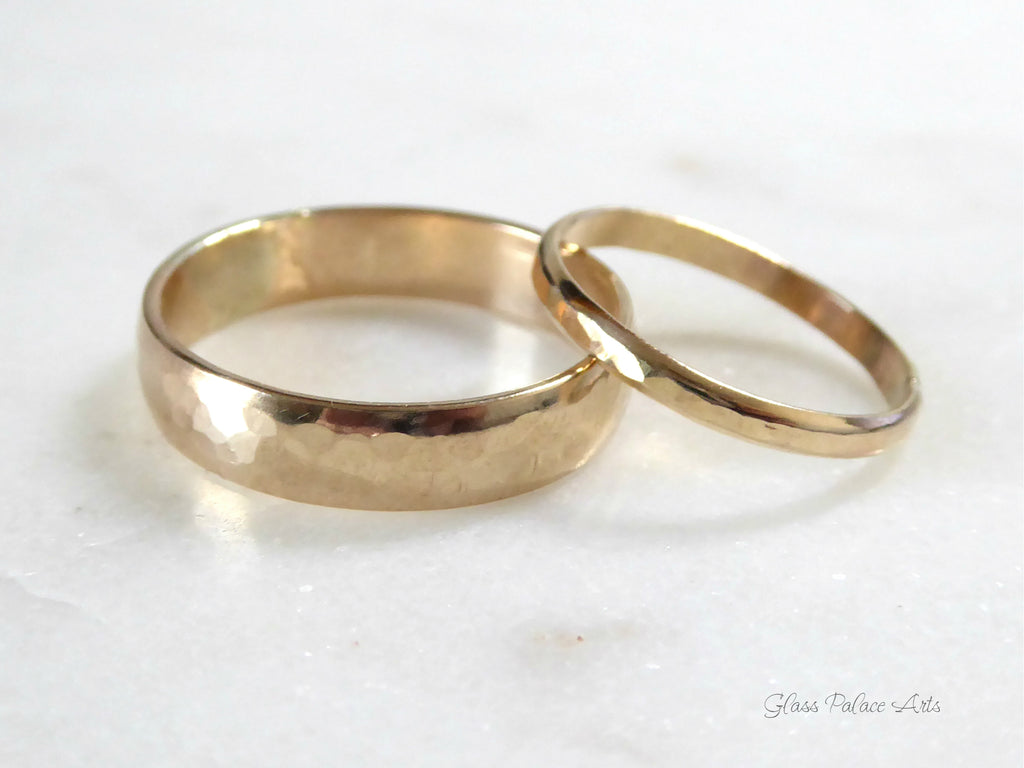 His And Hers Couples Ring Set 14k Gold Fill, Matching Wedding Bands