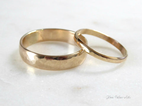 His And Hers Couples Ring Set 14k Gold Fill, Promise Rings For Couples Engagement, Matching Wedding Bands