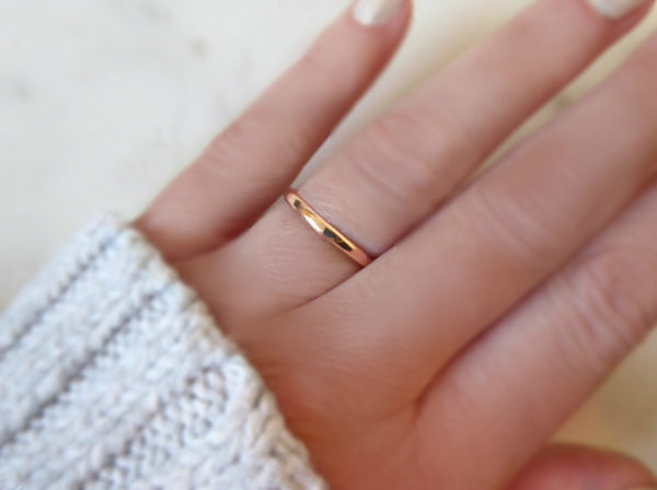 Simple Rose Gold Ring For Women, Hammered Rose Gold Fill Wedding Band, 2mm
