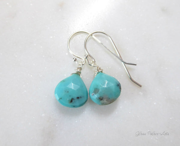Sleeping Beauty Turquoise Dangle Earrings - Sterling Silver or 14k Gold Fill