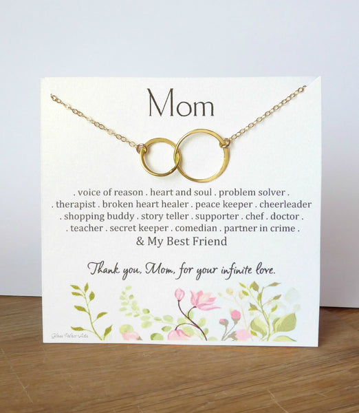 Thank You Mom Infinity Necklace Gift For Mother Daughter- Sterling Silver, Gold or Rose Gold
