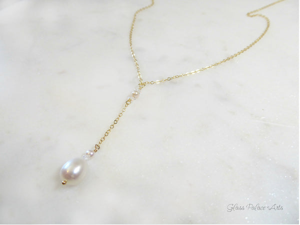 Freshwater Pearl And Herkimer Diamond Lariat Necklace - Sterling Silver, 14k Gold Fill or Rose Gold