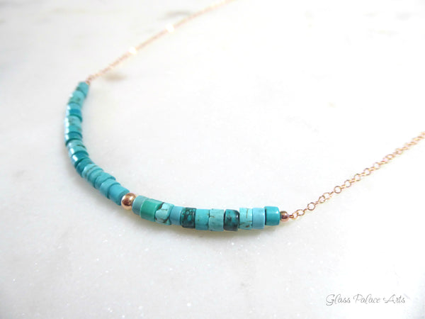 Simple Strand Beaded Turquoise Necklace For Women - Sterling Silver, 14k Gold Fill, Rose Gold