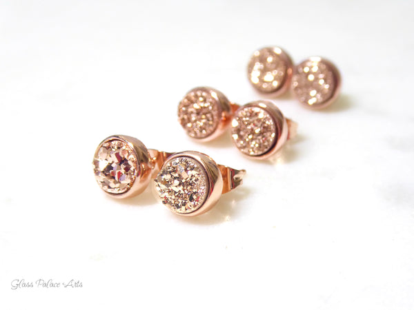 Rose Gold Druzy Stud Earrings For Women 8mm