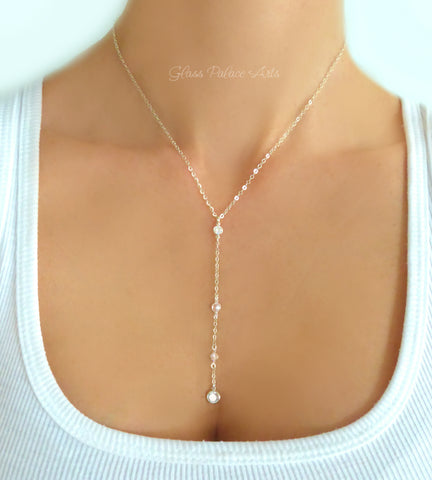 Cubic Zirconia Lariat Y Necklace For Women, Sterling Silver, 14k Gold Fill, Rose Gold