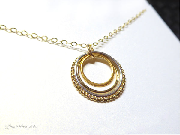 Family of Four Circle Mixed Metal Infinity Necklace - Sterling Silver, 14k Gold Fill