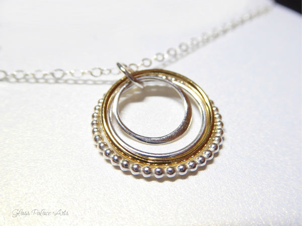 Family of Four Mixed Metal Infinity Circle Necklace - Sterling Silver or 14k Gold Fill