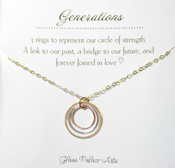 Three Circle Mixed Metal Infinity Generations Necklace