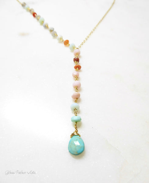 Peruvian Opal And Turquoise Lariat Gemstone Necklace For Women