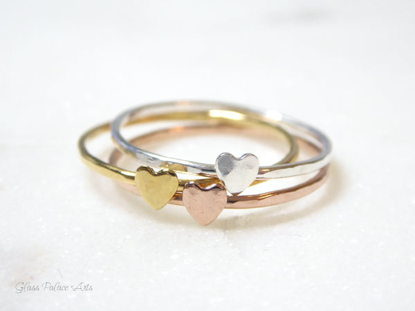 Tiny Heart Ring For Women Gold - Dainty Minimalist Hammered Stacking Ring