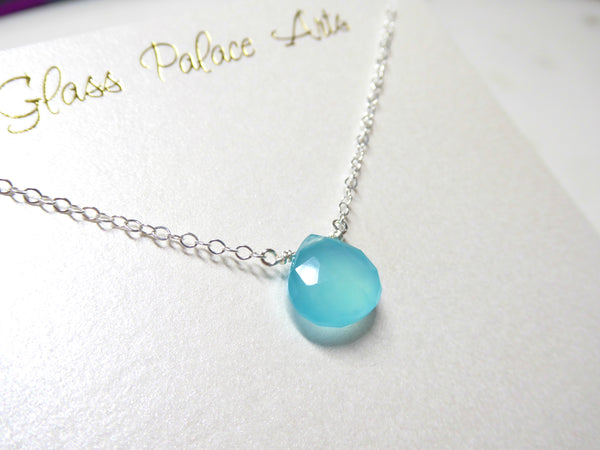 Aqua Chalcedony Small Gemstone Pendant Necklace - Sterling Silver or 14k Gold Fill