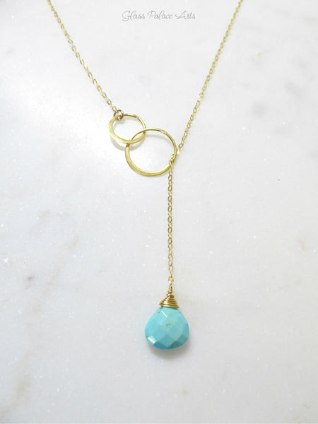 Genuine Sleeping Beauty Turquoise Lariat Necklace - Claspless Necklace
