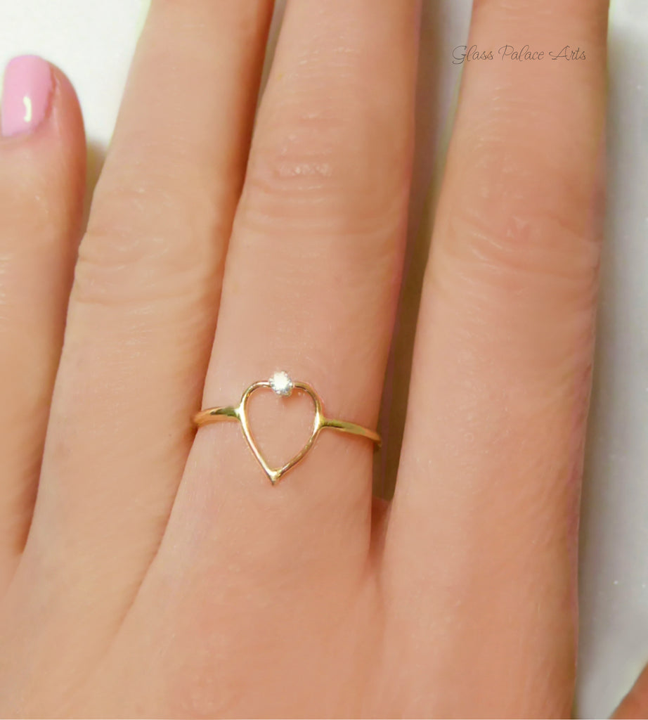 Heart Ring With Cubic Zirconia - 14k Gold Fill or Sterling Silver