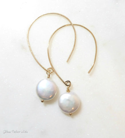 Hammered Freshwater Coin Pearl Hoop Earring- Sterling Silver, 14k Gold Fill