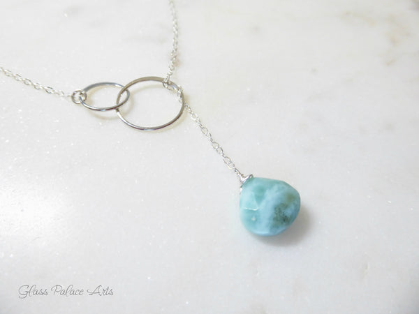 Larimar Lariat Necklace - Caribbean Gemstone Clasp-less Necklace