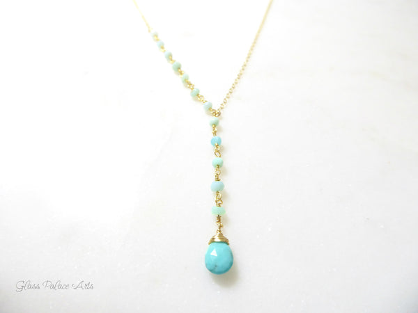 Peruvian Opal and Turquoise Lariat Y Gemstone Necklace - Sterling Silver or Gold