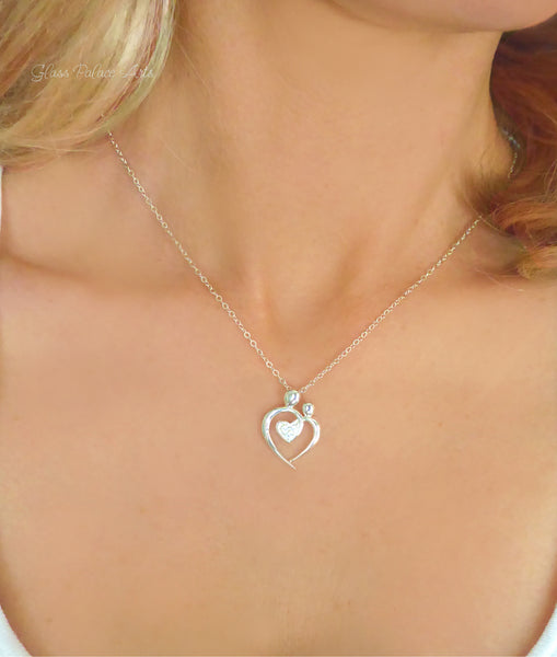 Mom and Baby Expecting Mother Necklace - Sterling Silver