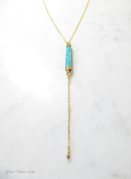 Long Turquoise Lariat Necklace With Turquoise Bar Drop