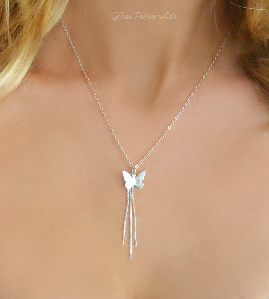 Sterling Silver Butterfly Necklace With Chain Dangle