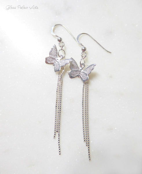 Sterling Silver Butterfly Earrings With Chain Dangle