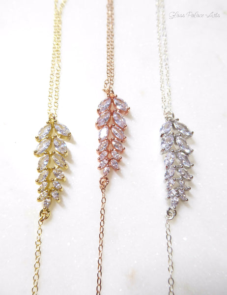 Cubic Zirconia Crystal Necklace With Leaf Drop - Sterling Silver, Gold, Rose Gold