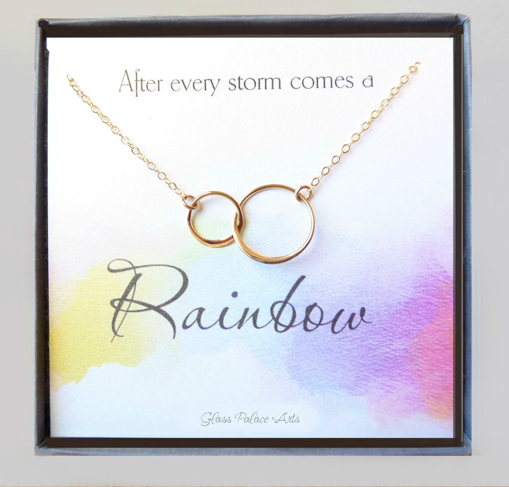 Motivational Infinity Necklace Gift - Rainbow Baby Encouragement Necklace