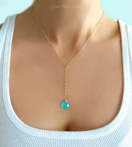 Aqua Chalcedony Gemstone Y Lariat Necklace - Sterling Silver, Gold, Rose Gold