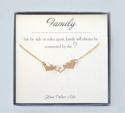 Connected Heart Family Necklace Personalized - Gold, Rose Gold or Sterling Silver