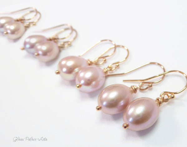 Freshwater Pearl Champagne Pink Pearl Teardrop Earrings - Sterling Silver, Gold or Rose Gold