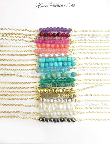 Dainty Gemstone Bar Necklaces - The Perfect Layering Necklace