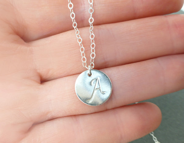 Personalized Disc Necklace - With Stamped Initials
