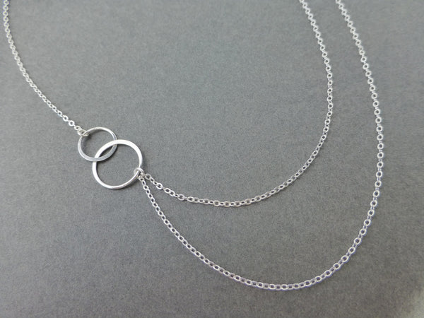 Layered and Long Asymmetrical Double Strand Infinity Necklace - In Sterling Silver or Gold