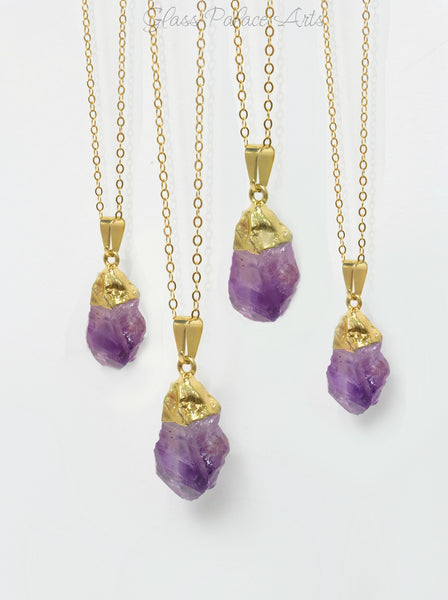 Raw Amethyst Necklace - Natural Stone Jewelry