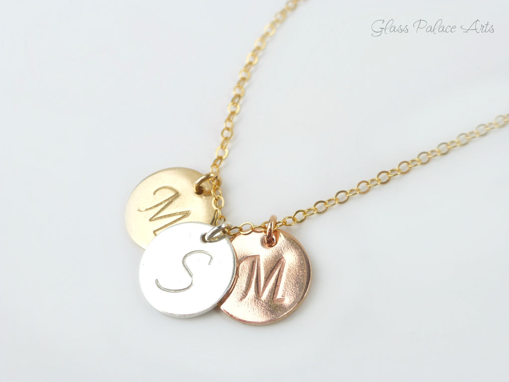 Personalized Disc Necklace With Stamped Initials