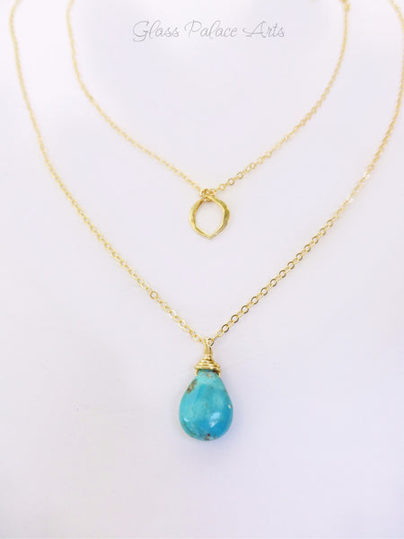 Sleeping Beauty Turquoise Necklace - Multi Strand in Gold or Sterling Silver
