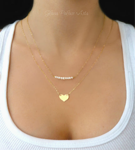 Personalized Heart Necklace With Freshwater Pearls - Gold, Sterling Silver or Rose Gold