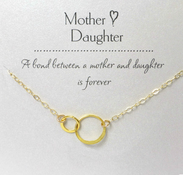 Small Mother Daughter Infinity Necklace - Silver, Gold or Rose Gold