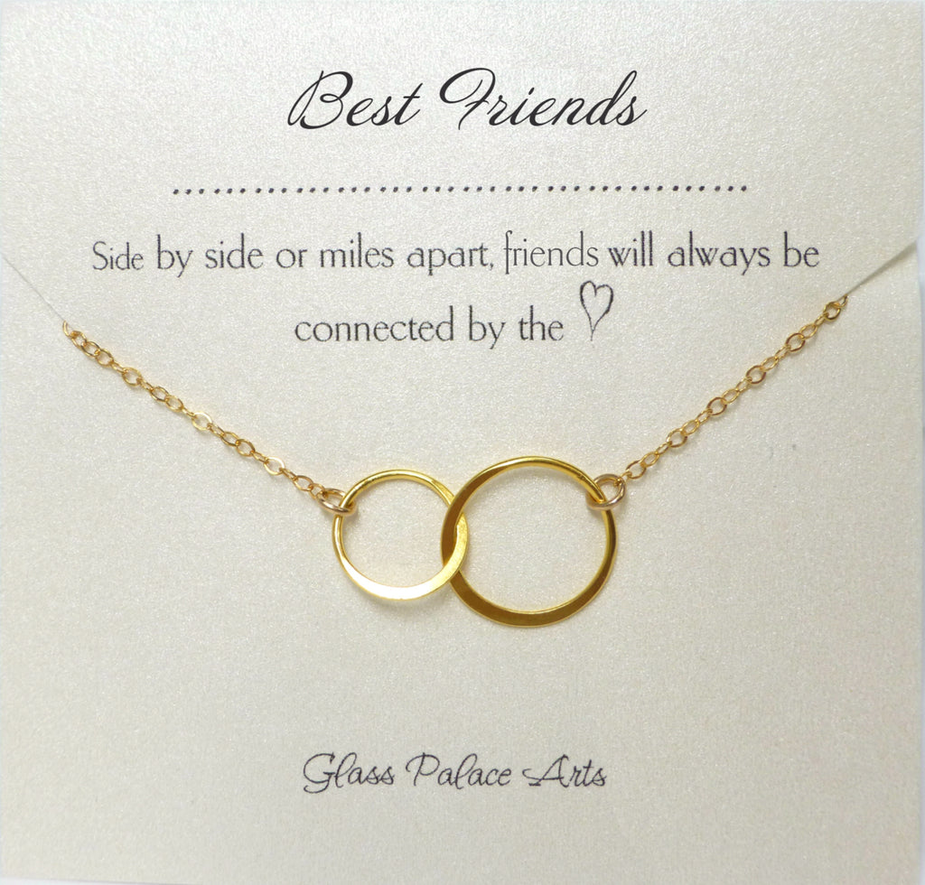 Meaningful Best Friend Necklace Gift - Adult BFF Eternity Pendant - Sterling Silver, Rose Gold