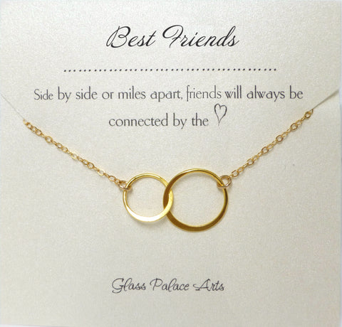 Meaningful Best Friend Necklace Gift - Adult BFF Eternity Pendant Necklace - Sterling Silver, Rose Gold