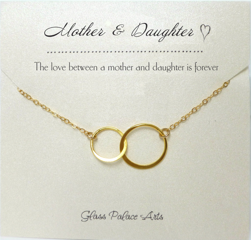 Mother Daughter Infinity Necklace With Note Card Sterling Silver Go Glass Palace Arts