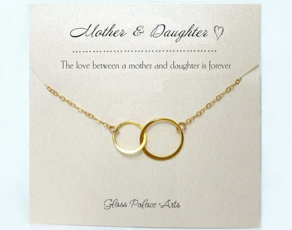 Mother Daughter Infinity Necklace - With Note Card