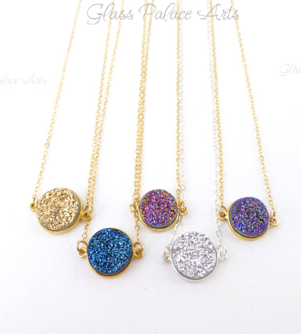 Druzy Pendant Necklace - Druzy Stardust Necklace