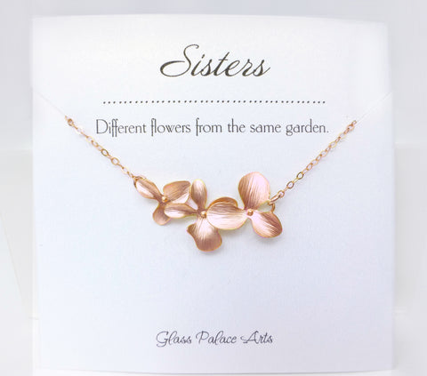 Flower Orchid Bracelet For Sisters - Silver, Gold or Rose Gold