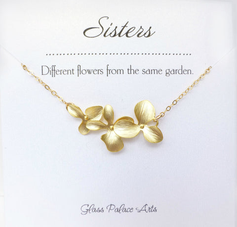 Orchid Flower Necklace - With Sister Note Card