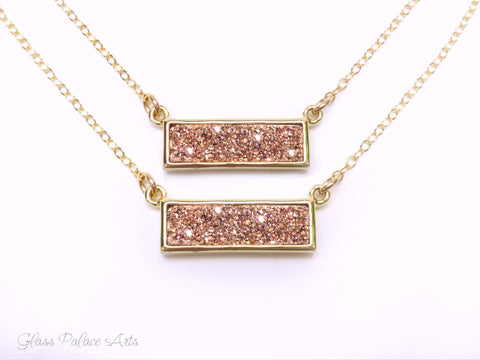 Rose Gold Druzy Bar Necklace For Women